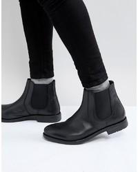 schwarze Chelsea-Stiefel aus Leder von Frank Wright