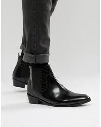 schwarze Chelsea-Stiefel aus Leder von House of Hounds