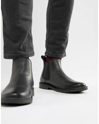 schwarze Chelsea-Stiefel aus Leder von Jack & Jones