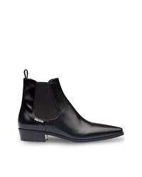 schwarze Chelsea-Stiefel aus Leder von Prada