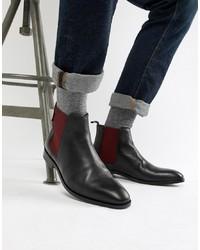 schwarze Chelsea-Stiefel aus Leder von PS Paul Smith