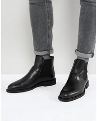 schwarze Chelsea-Stiefel aus Leder von Selected Homme