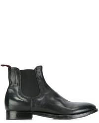 Schwarze Chelsea-Stiefel aus Leder von Silvano Sassetti