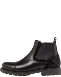 schwarze Chelsea-Stiefel aus Leder von Tommy Hilfiger