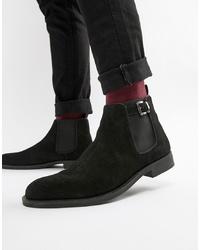 schwarze Chelsea-Stiefel aus Wildleder von Pier One