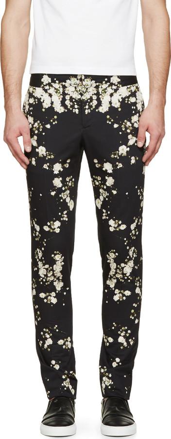 schwarze Chinohose mit Blumenmuster von Givenchy