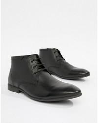 schwarze Chukka-Stiefel aus Leder von ASOS DESIGN