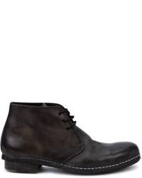 schwarze Chukka-Stiefel aus Leder von Miharayasuhiro