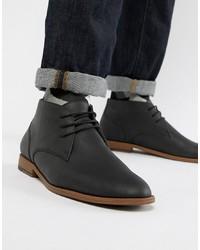 schwarze Chukka-Stiefel aus Leder von New Look