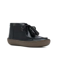 schwarze Chukka-Stiefel aus Leder von Prada