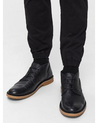 schwarze Chukka-Stiefel aus Leder von Selected Homme