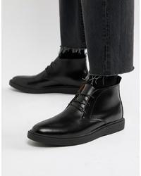 schwarze Chukka-Stiefel aus Leder von Zign