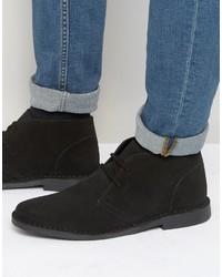 schwarze Chukka-Stiefel aus Wildleder von Red Tape