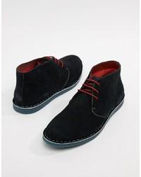 schwarze Chukka-Stiefel aus Wildleder von Silver Street