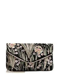 schwarze Clutch mit Blumenmuster von New Look