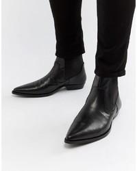 schwarze Cowboystiefel aus Leder von ASOS DESIGN
