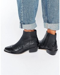 Schwarze Cowboystiefel aus Leder von Asos