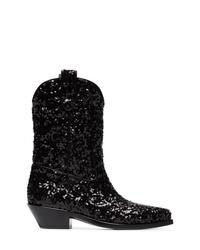 schwarze Cowboystiefel aus Leder von Dolce & Gabbana