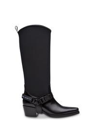 schwarze Cowboystiefel aus Leder von Prada