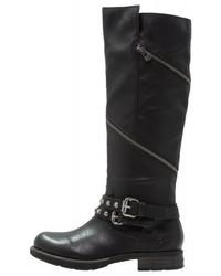 schwarze Cowboystiefel aus Leder von Tom Tailor