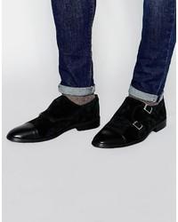 schwarze Doppelmonks aus Leder von Asos