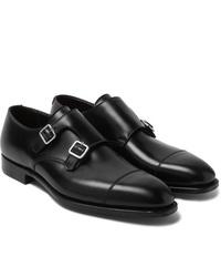 schwarze Doppelmonks aus Leder von George Cleverley