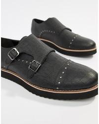 schwarze Doppelmonks aus Leder von Truffle Collection