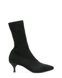schwarze elastische Stiefeletten