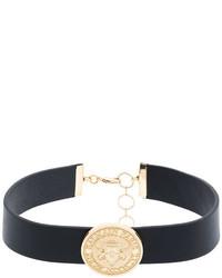 schwarze enge Halskette aus Leder von Balmain