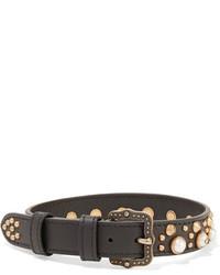 schwarze enge Halskette aus Leder von Gucci