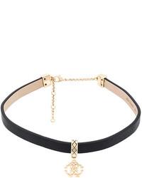 schwarze enge Halskette aus Leder von Roberto Cavalli
