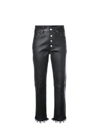 schwarze enge Hose aus Leder von Amiri