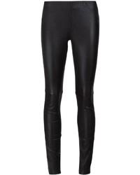Schwarze Enge Hose aus Leder von Anine Bing