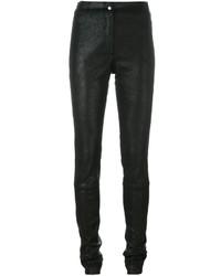 Schwarze Enge Hose aus Leder von Ann Demeulemeester