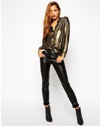 schwarze enge Hose aus Leder von Asos