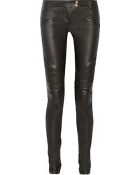 schwarze enge Hose aus Leder von Balmain