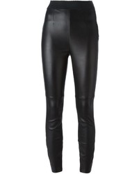 Schwarze Enge Hose aus Leder von Dolce & Gabbana