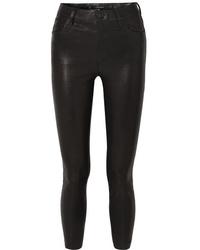 schwarze enge Hose aus Leder von J Brand