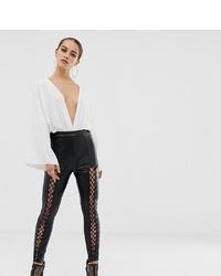 schwarze enge Hose aus Leder von Missguided Petite