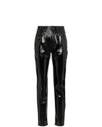schwarze enge Hose aus Leder von Saint Laurent