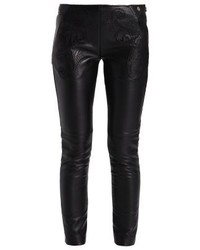 Schwarze Enge Hose aus Leder von Versace
