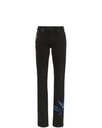 schwarze enge Jeans mit Batikmuster