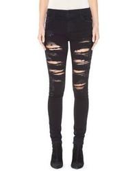 Schwarze Enge Jeans mit Destroyed-Effekten von Alice + Olivia