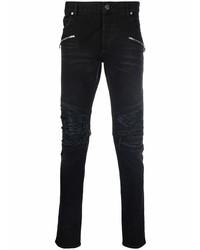 schwarze enge Jeans mit Destroyed-Effekten von Balmain