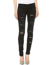 Schwarze Enge Jeans mit Destroyed-Effekten von Blank