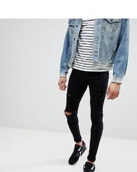 schwarze enge Jeans mit Destroyed-Effekten von BLEND