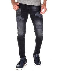 schwarze enge Jeans mit Destroyed-Effekten von Bright Jeans