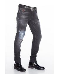 schwarze enge Jeans mit Destroyed-Effekten von Cipo & Baxx