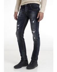 schwarze enge Jeans mit Destroyed-Effekten von Crosshatch