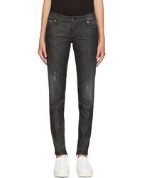 schwarze enge Jeans mit Destroyed-Effekten von Dsquared2